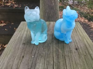 Mosser Glass Cats - Aqua Opal and Blue Slag