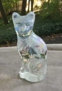 Fenton Stylized Cat figurine - Daisy Lane pattern